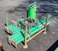 Stillage of 16 hydraulic trench box connectors & pump