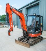 Kubota KX61-3 2.6 tonne rubber tracked excavator Year: 2014 S/N: 80674 Recorded hours: 3355 piped &