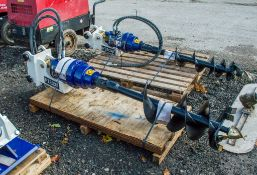 Hirox hydraulic post hole borer/auger drive to suit 5-8 tonne excavator c/w auger ** Unused **