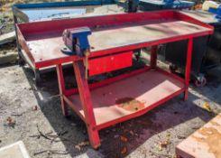 Steel work bench c/w bench vice AP