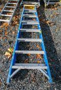 8 tread fibre glass framed aluminium step ladder A776404
