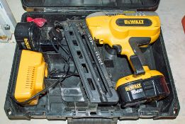 Dewalt XRP cordless nail gun c/w 2 batteries, charger & carry case WONED118
