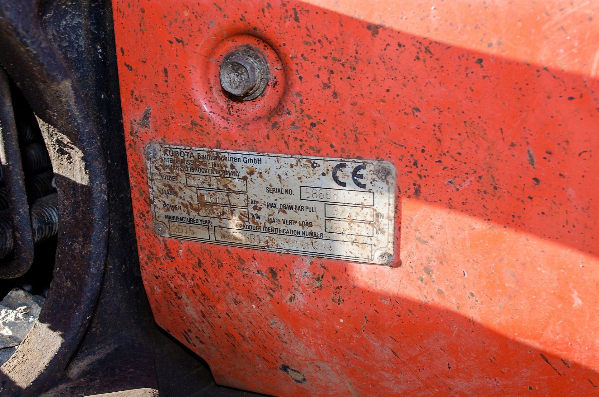 Kubota KX016-4 1.5 tonne rubber tracked mini excavator Year: 2015 S/N: 58688 Recorded Hours: 1736 - Image 19 of 19