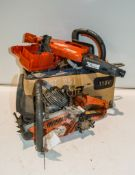 Box of Husqvarna petrol driven chainsaw parts