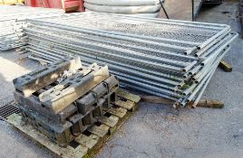 20 - Heras fence panels c/w 12 - rubber feet & clips