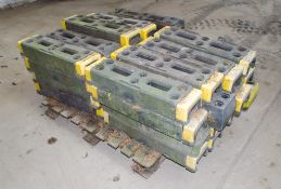 Pallet of rubber feet for fencing