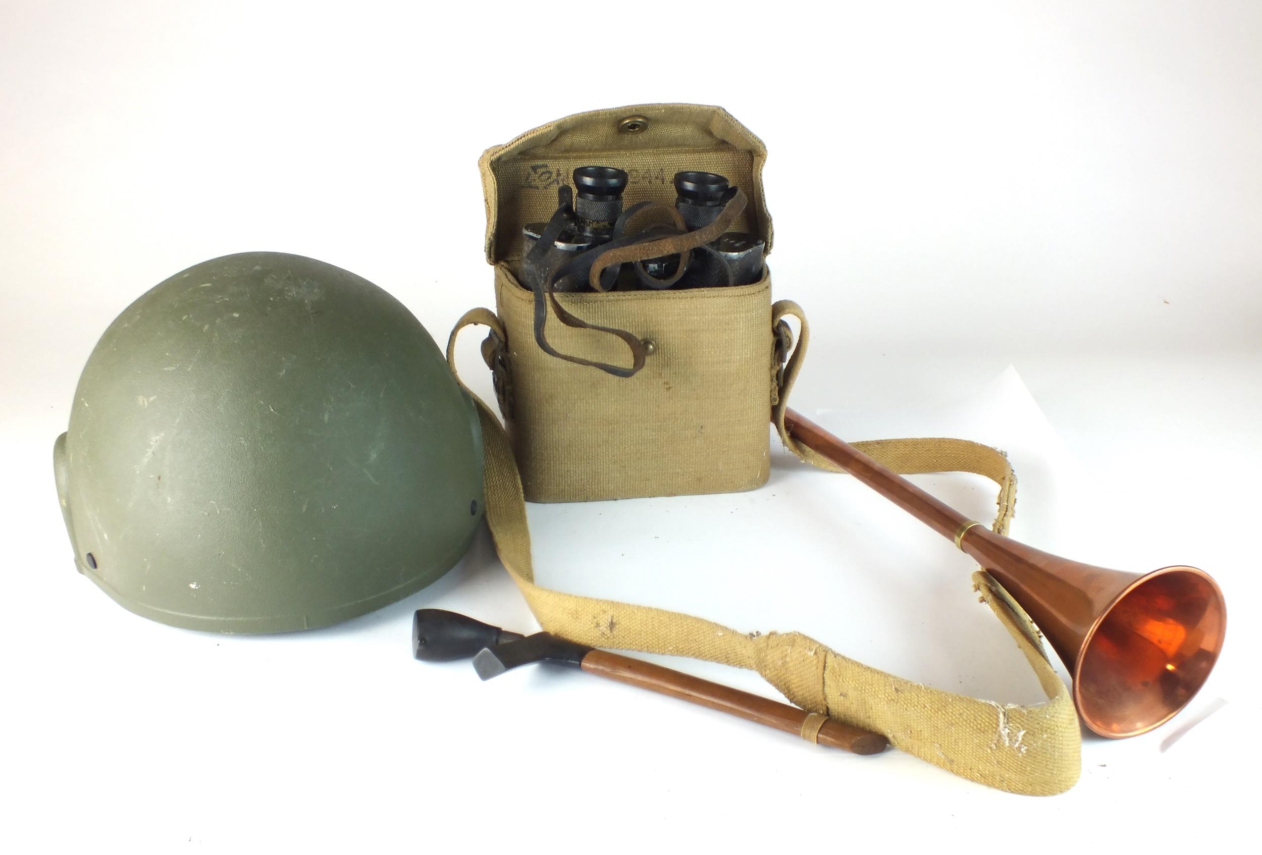 British Army helmet, WW2 binoculars, South-East Asian dagger, copper horn