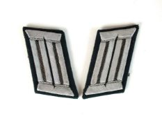 A pair of Third Reich German Heer (Army) Engineer Officer's collar tabs with black piping (2)