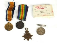 """A pair of WW1 medals awarded to """"4902 Cpl (later Sjt) W. Price. R. War. R."""" comprising 1914-15"""