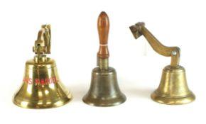 Two Second World War brass bells and further 'Sans Pariel' bell