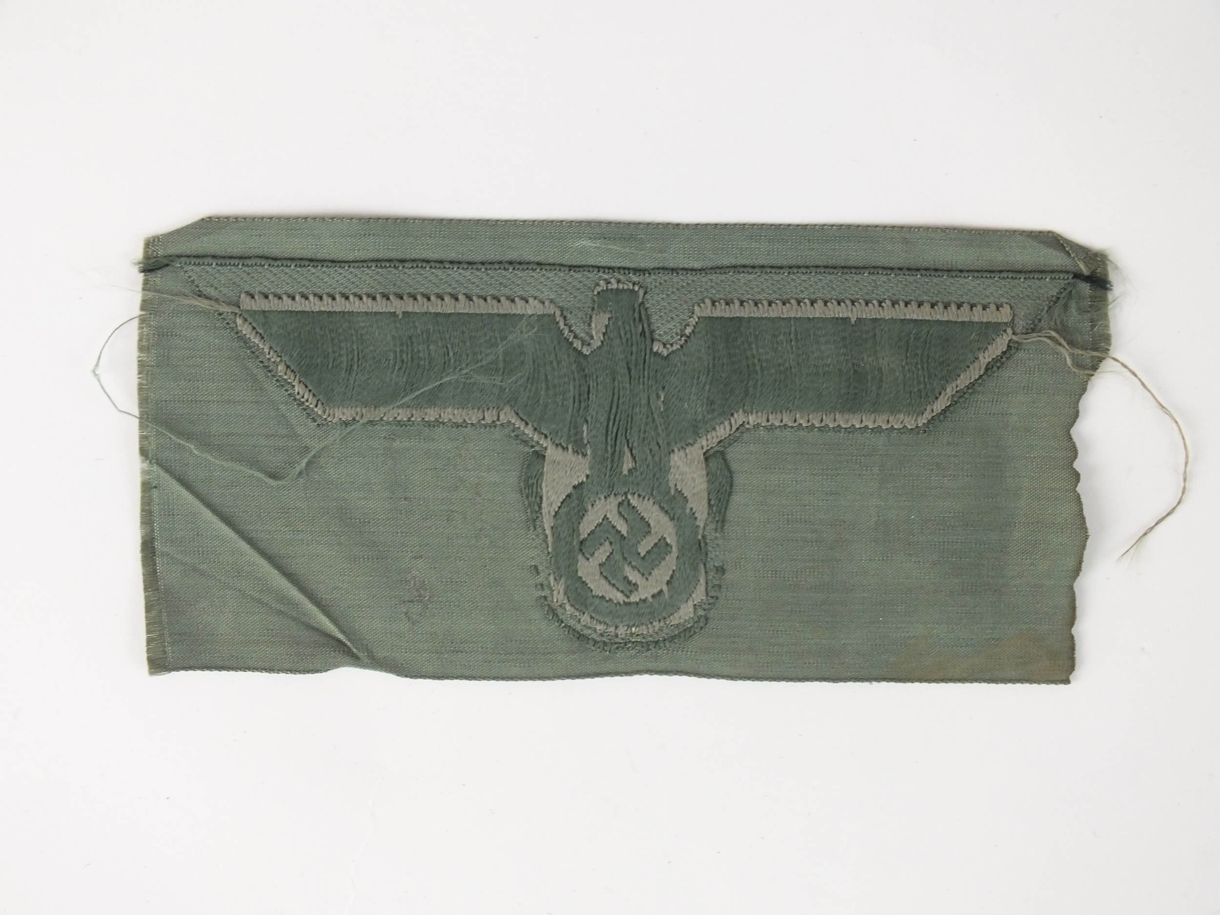German Wehrmacht Heer (Army) BeVo breast eagle, subdued grey eagle against field grey backing. - Image 2 of 2