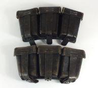 Two German Second World War K98 ammunition pouches