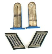 A pair of Third Reich German Army Transport Lieutenant's Shoulder Boards with blue underlay together