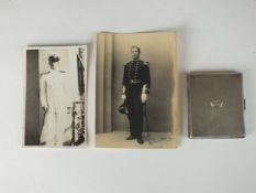 Royal Navy interest - a silver cigarette case