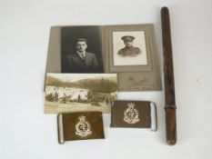 Two RAMC waist belt plates, military postcard and photograph, thermometer