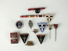 A group of German Third Reich badge and stick pins, badges and tinnies including an NS 'Deine Hand
