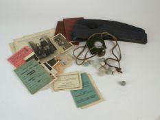 Mixed lot including War Department silver-plate, RAF cap, musket balls, ephemera