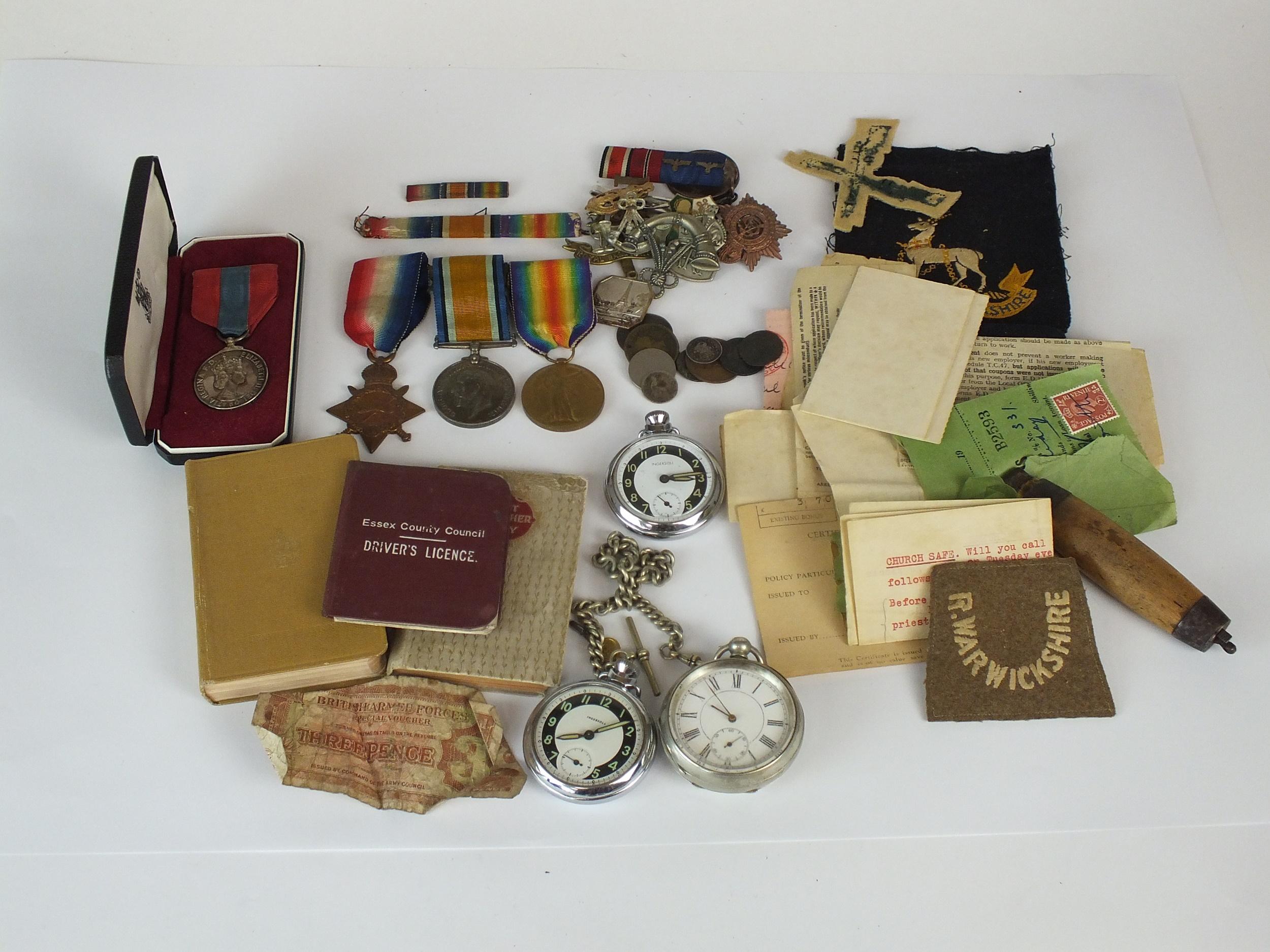 WW1 medals and ephemera