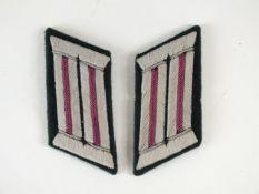 A pair of WW2 German Smoke Troop Officer's collar tabs