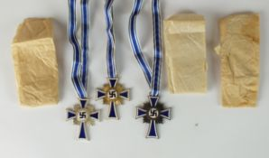 A set of three German Third Reich Mother's Crosses