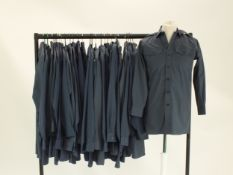 Twenty-eight RAF navy blue man's working dress long-sleeve shirts, various sizes