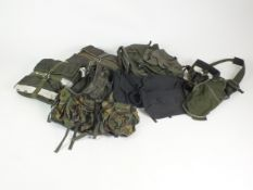 British Army equipment including Parachute deployment bags, Web Tex vest, webbing, etc