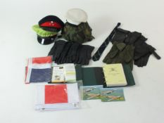 Collection of black leather and other gloves, Royal Air Force aide-memoire, caps, helmet