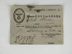 German Third Reich SA Reserve II enamel stickpin with paperwork