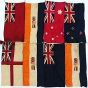 A set of International Code of Signal (ICS) maritime flags and pennants the total of sixty-five