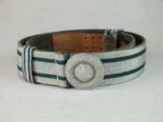 A German Third Reich Army Parade brocade belt and buckle green velvet cloth backing to the belt with