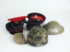 WW2 brodie helmet together with modern visor caps