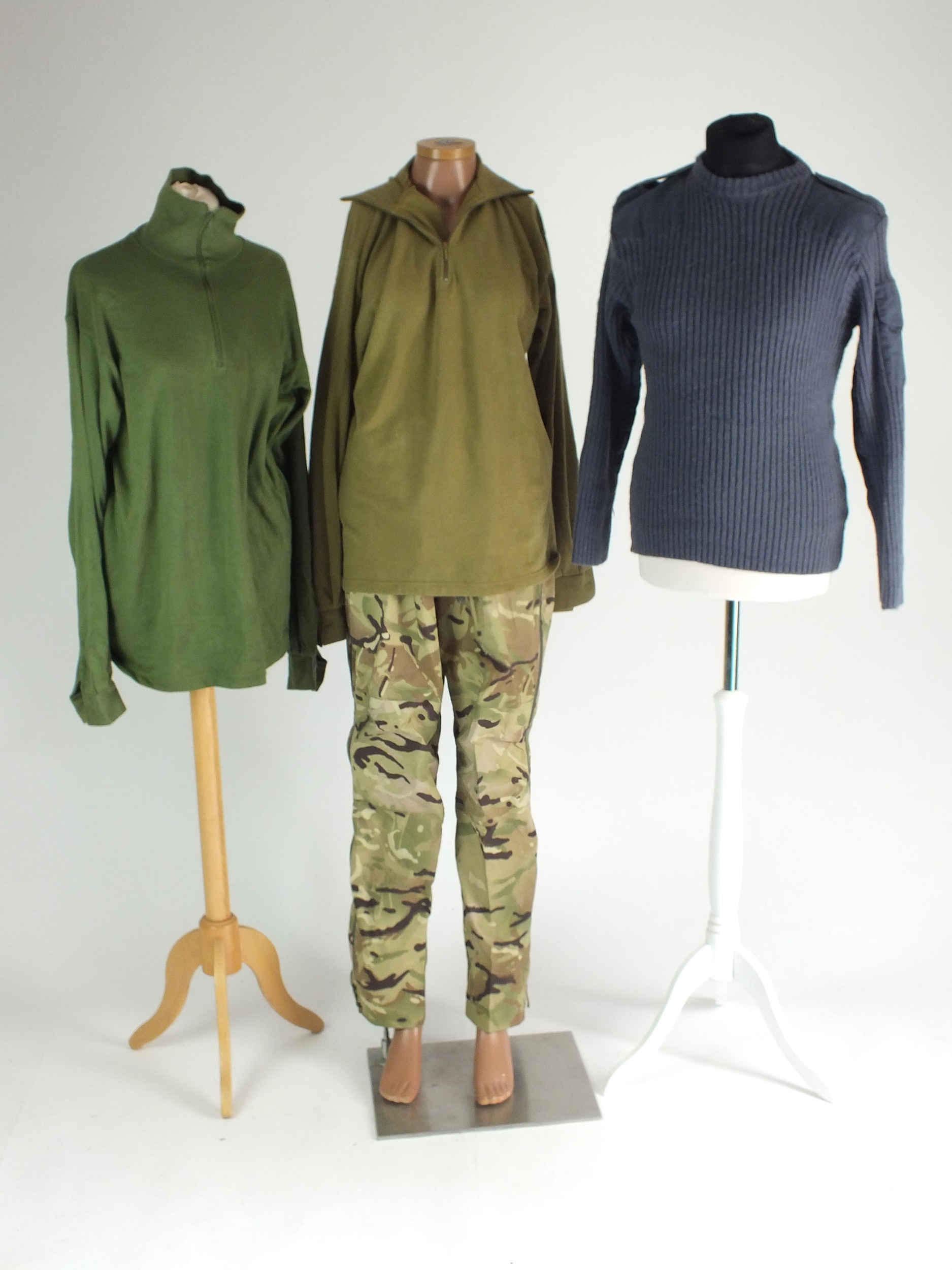 Mixed lots of surplus including RAF jumpers, cold weather shirts, waterproof trousers