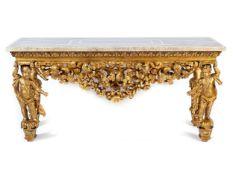 Große prachtvolle Konsole aus geschnitztem und vergoldetem Holz mit Porphyrplatte