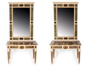Paar klassizistische Spiegelkonsolen