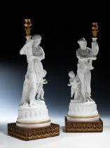 Paar klassizistische Biskuitporzellanfiguren als Kerzenhalter