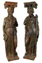 Großes Skulpturenpaar Karyatiden