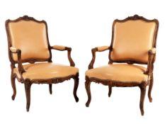 Paar Fauteuils im Louis XV-Stil
