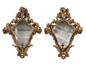 Paar figürliche Barock Spiegel-Leuchter