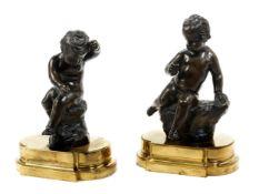 Paar Bronze-Putti