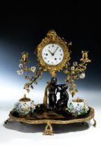 Chinoises Louis XV-Schreibzeug mit Pendule