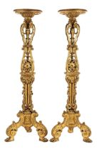 Paar hohe vergoldete Torchèren