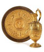 Vergoldete Temperantia-Schale mit zugehöriger Kanne