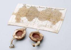 Dokument mit 2 Rotsiegeln, Gnesen (Heute Gnieznow, Polen), um 1594