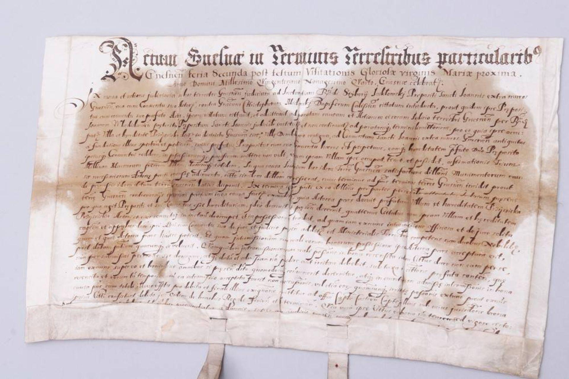 Dokument mit 2 Rotsiegeln, Gnesen (Heute Gnieznow, Polen), um 1594 - Image 7 of 7