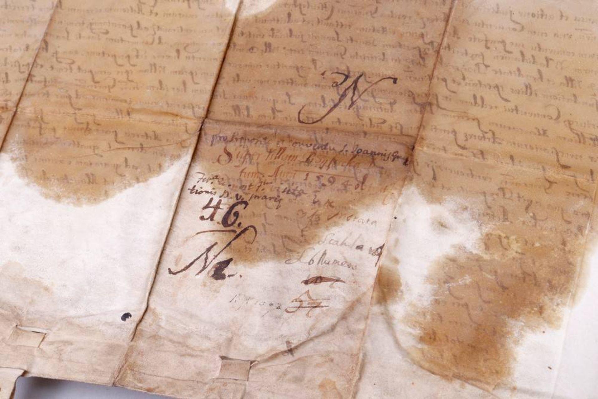 Dokument mit 2 Rotsiegeln, Gnesen (Heute Gnieznow, Polen), um 1594 - Image 4 of 7
