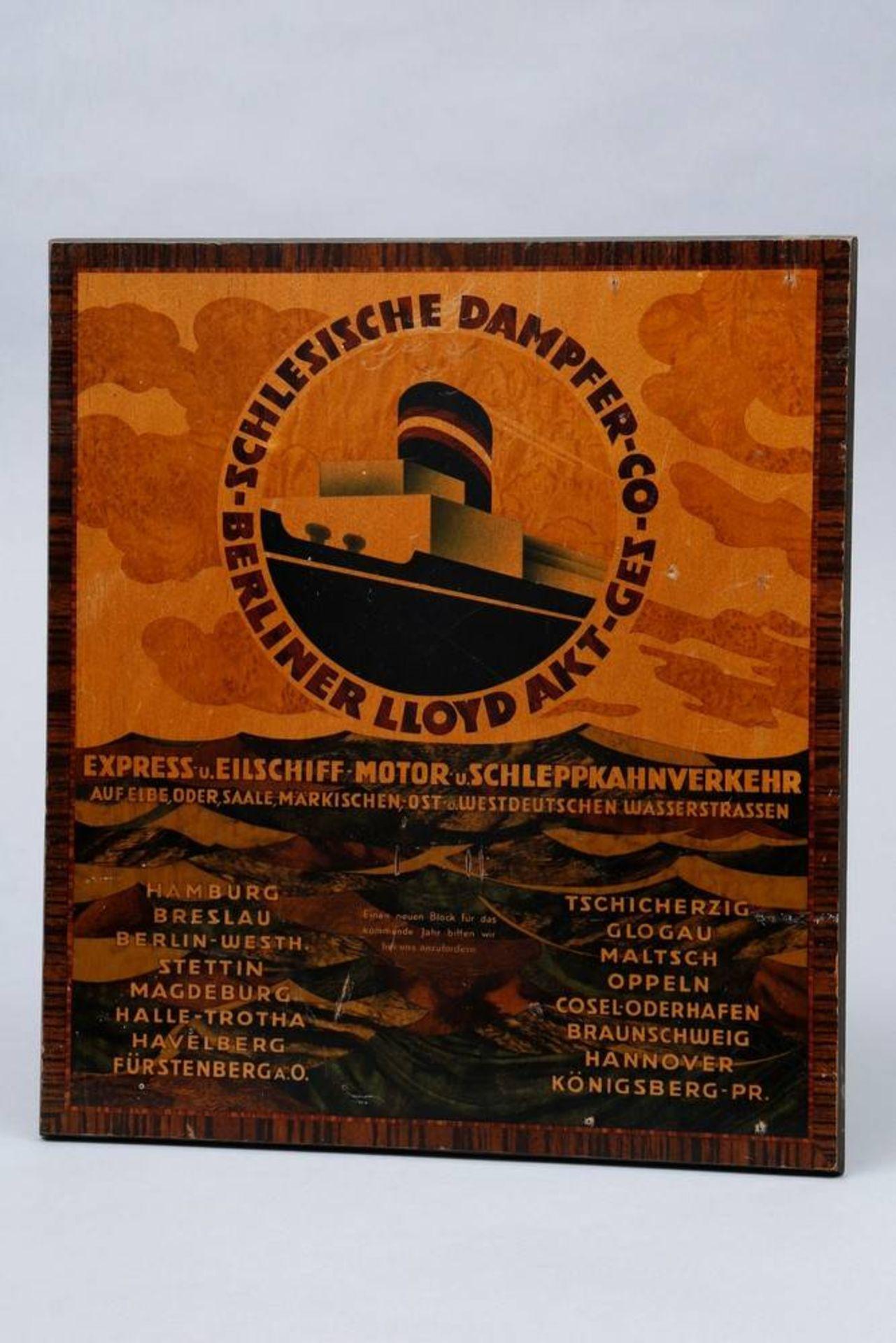 """Kalender-Werbetafel, """"Schlesischer Dampfer-Co-Berliner Lloyd Akt-Gez"""", um 1920/"""