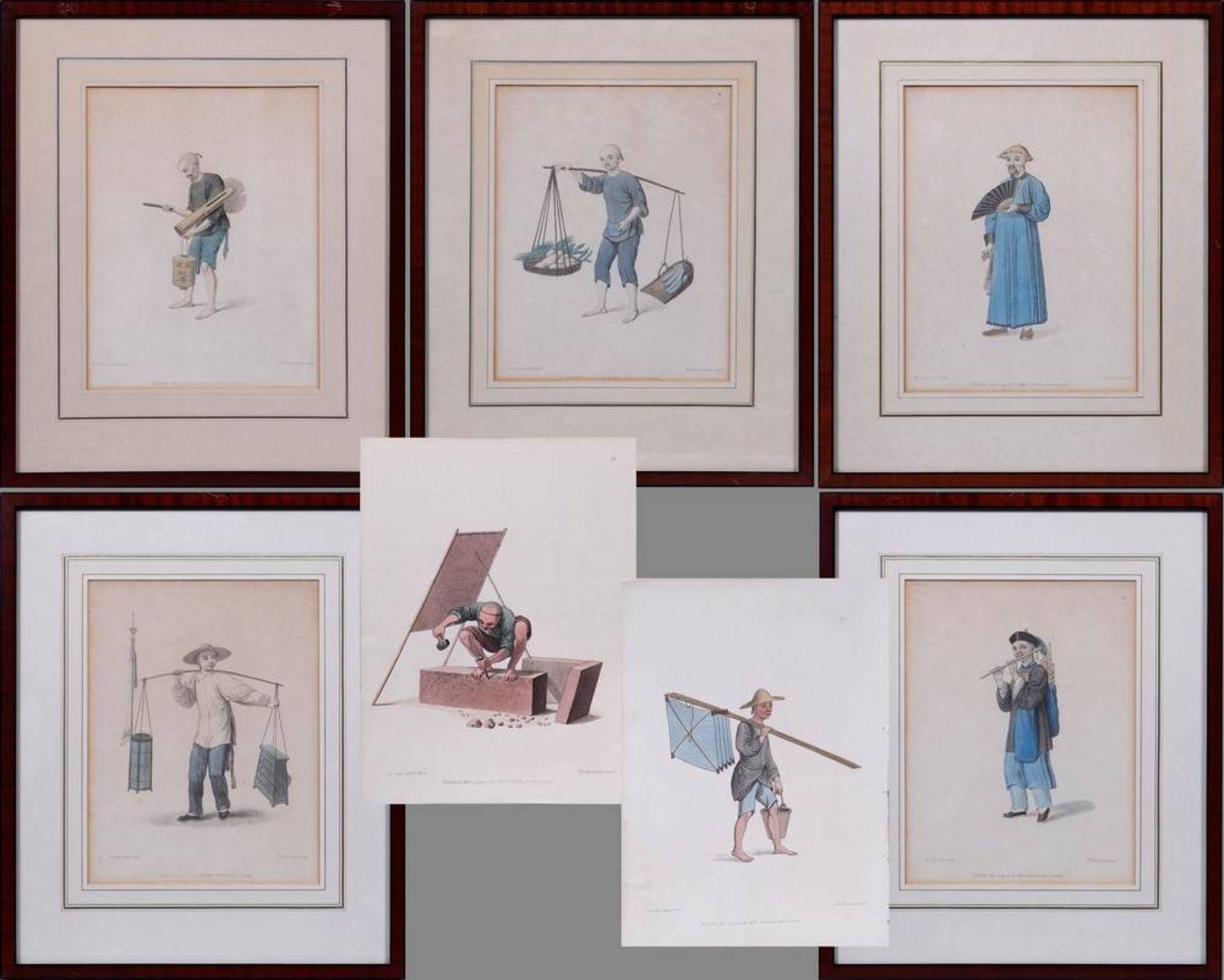 """7 Tafeln aus """"The Costume of China"""", kolorierte Stiche von John Dadley nach Zei"""