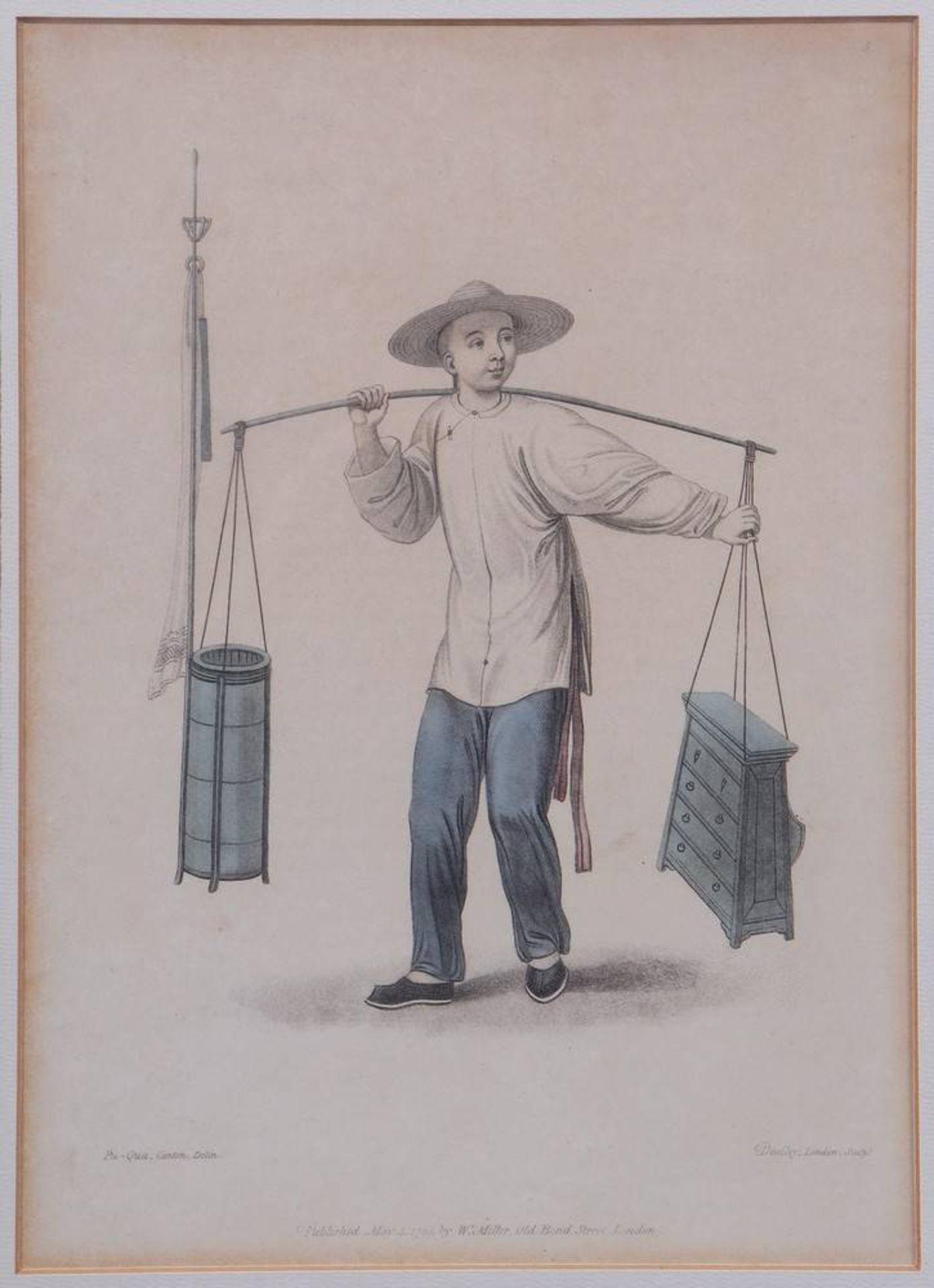 """7 Tafeln aus """"The Costume of China"""", kolorierte Stiche von John Dadley nach Zei - Image 4 of 13"""