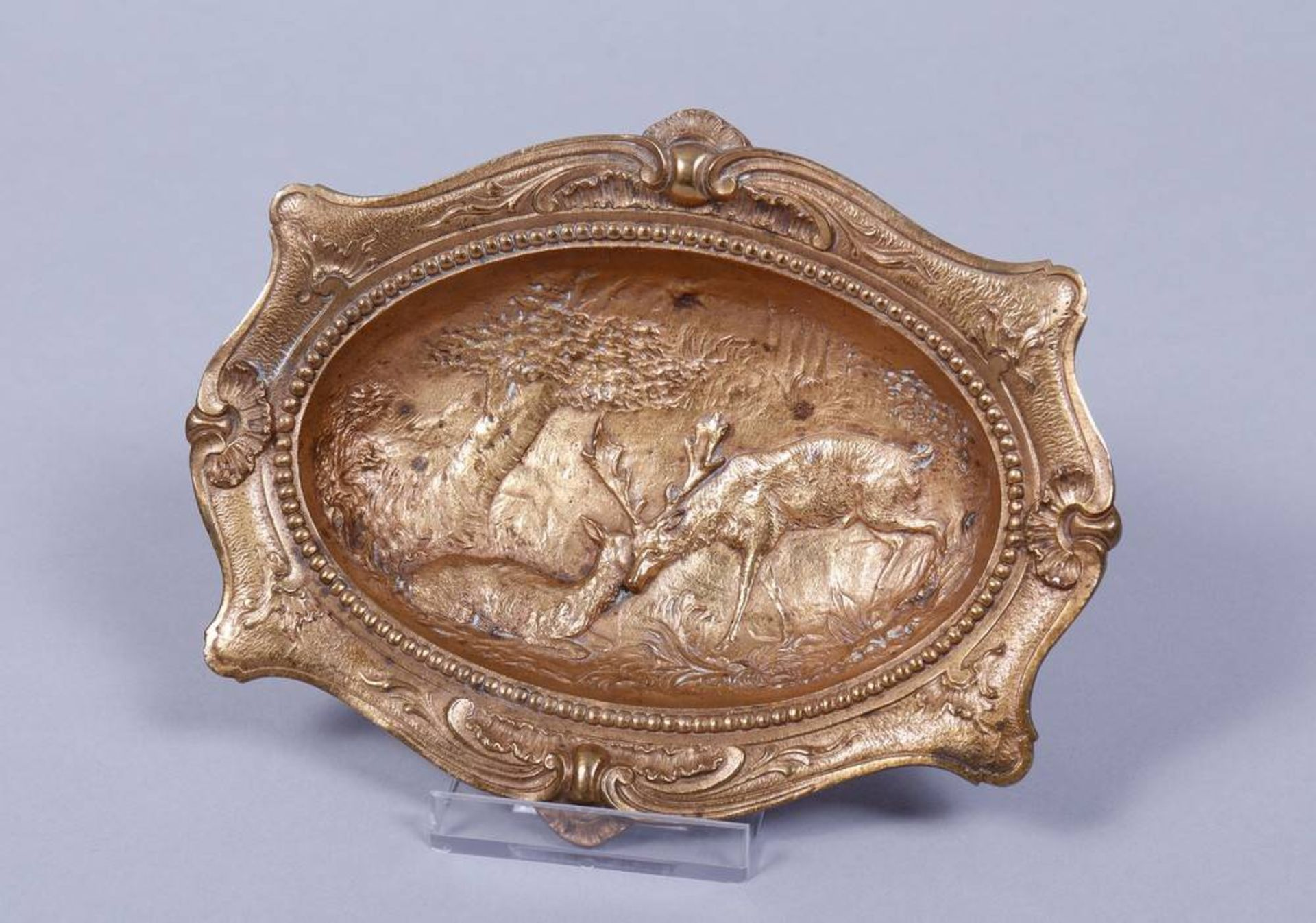 Visitenkarten-Schale, Bronze, vergoldet, wohl deutsch, um 1900