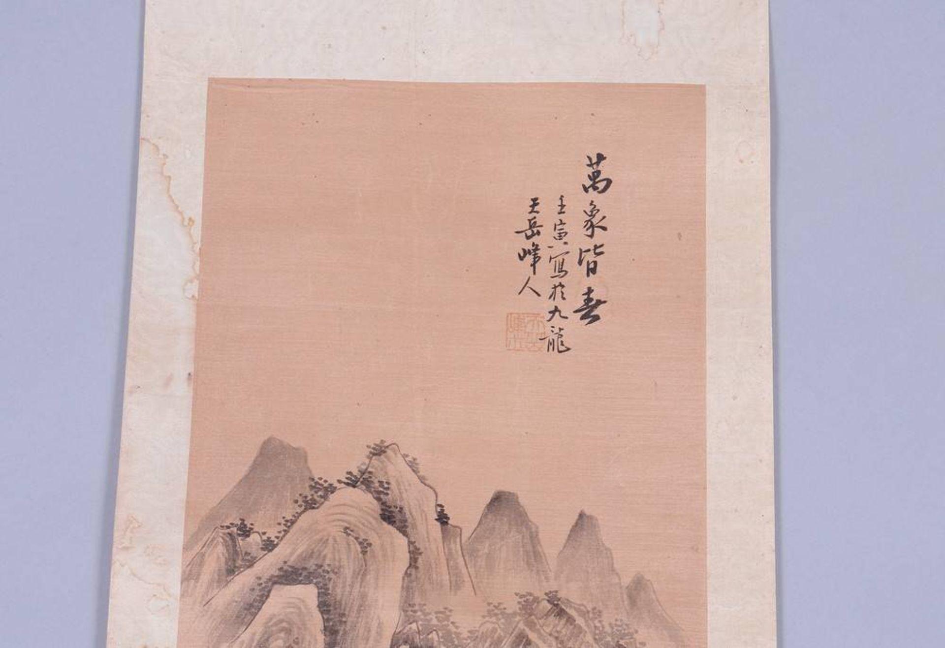 Rollbild, Tusche auf Seide, auf Papier, Japan, Meiji-Zeit - Image 3 of 4